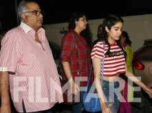 Janhvi, Anshula Kapoor step out for a movie with dad Boney Kapoor