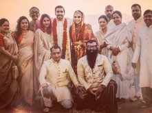Deepika Padukone and Ranveer Singh pose for a happy group picture