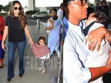 Mira Kapoor spotted at the Mumbai airport with her children Misha and Zain