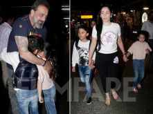 Sanjay Dutt surprises his family at the airport
