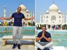 Will Smith poses in front of the Taj Mahal as he visits Agra