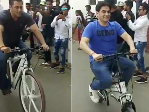 Viral Video! Salman Khan arrives to shoot for Dabangg 3 on a bicycle