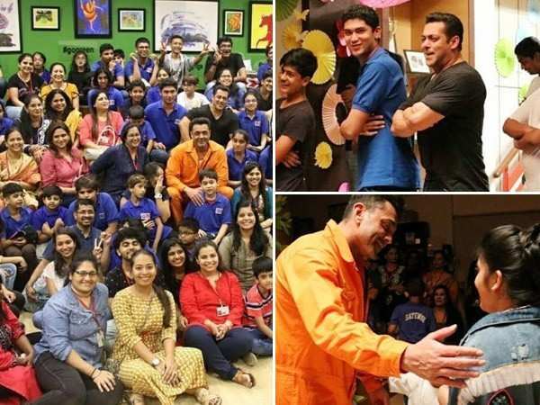 Salman Khan gives a glimpse of the process of filmmaking to young children