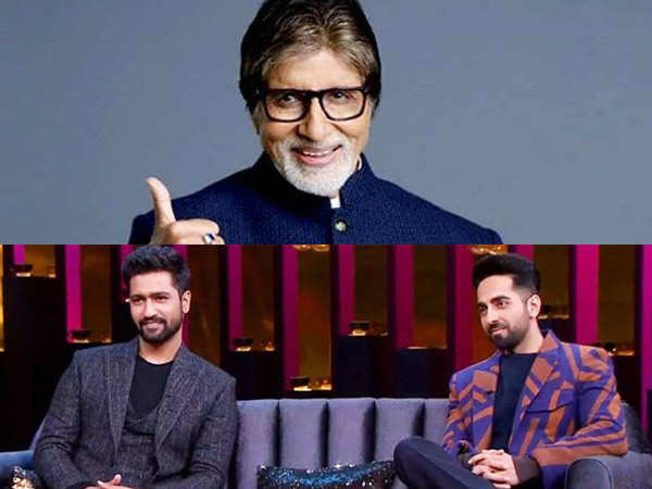 Ayushmann Khurrana and Vicky Kaushal receive a gift from Amitabh Bachchan