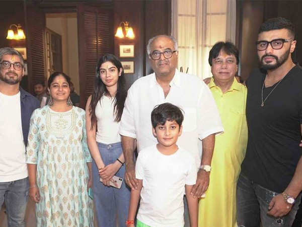 Anshula, Khushi and Arjun Kapoor attend the muhurat puja of Boney Kapoor's Maidaan