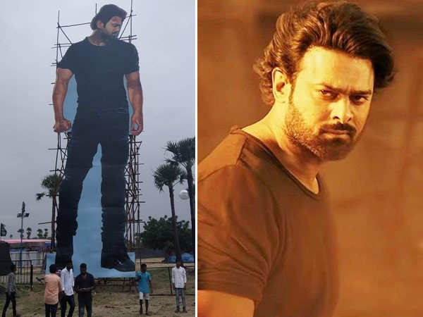 Prabhas'  fans install 70-foot tall cut-out of the superstar ahead of Saaho's release