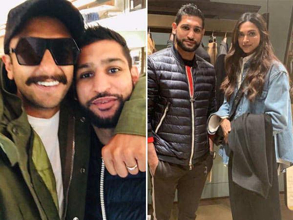 Ranveer Singh and Deepika Padukone meet up with boxer Amir Khan