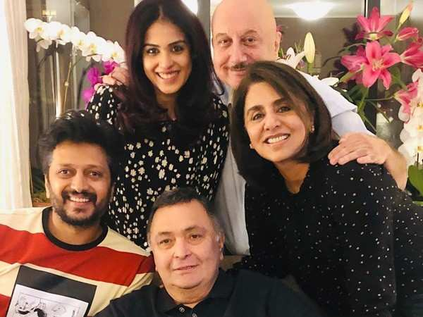 Thank You Riteish, Anupam and Genelia for the Visit Says Rishi Kapoor