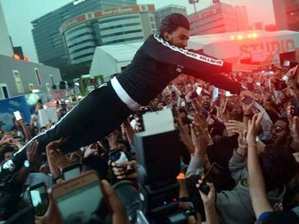 Ranveer Singh reacts to being pulled up for diving into the crowd