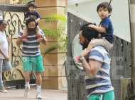 Spotted! Taimur Ali Khan riding on dad Saif Ali Khan's shoulders