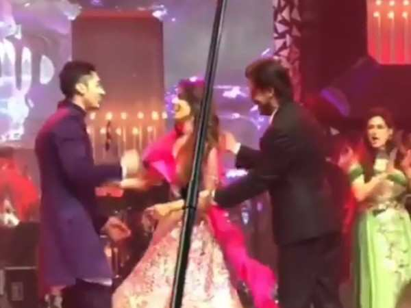 Shah Rukh Khan shakes a leg with  the bride-to-be Tanya Seth at her sangeet