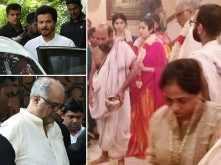Janhvi, Boney and Anil Kapoor perform puja for Sridevi's death anniversary
