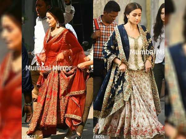Viral Pictures! Alia Bhatt and Madhuri Dixit Nene on the set of Kalank