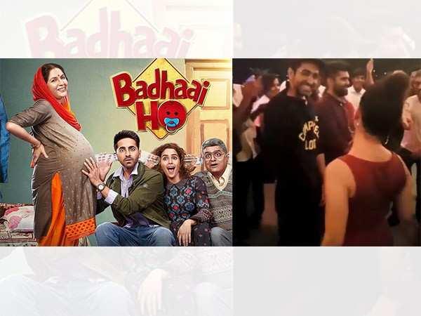 Ayushmann Khurrana dances with Sanya Malhotra at Badhaai Ho's success bash