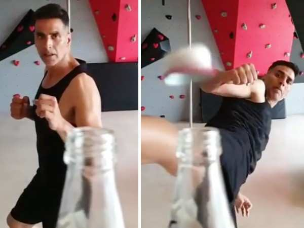 Akshay Kumar aces the #BottleCapChallenge