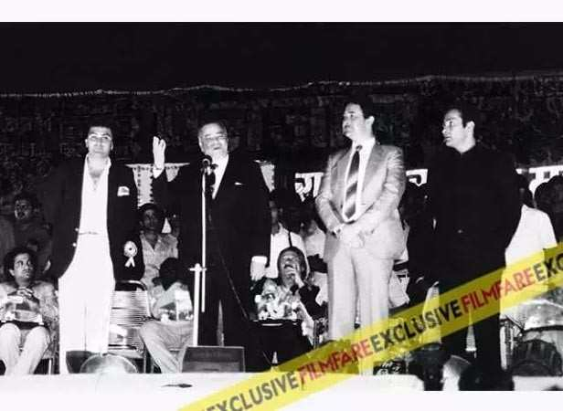 At the premiere of Bobby with son Rishi Kapoor and brother-in-law Premnath held for the benefit of the Cancer society of India. The film was a trendsetter for teen love stories.