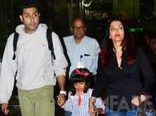 Abhishek, Aishwarya Rai & Aaradhya Bachchan spotted at the Mumbai airport