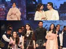 Stars walk the ramp for Abu Jani, Sandeep Khosla and Shaina NC