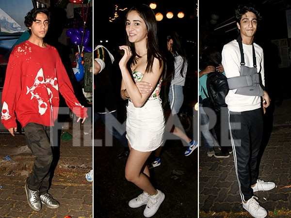 Ananya Panday, Aryan Khan, Ahaan Panday clicked partying together