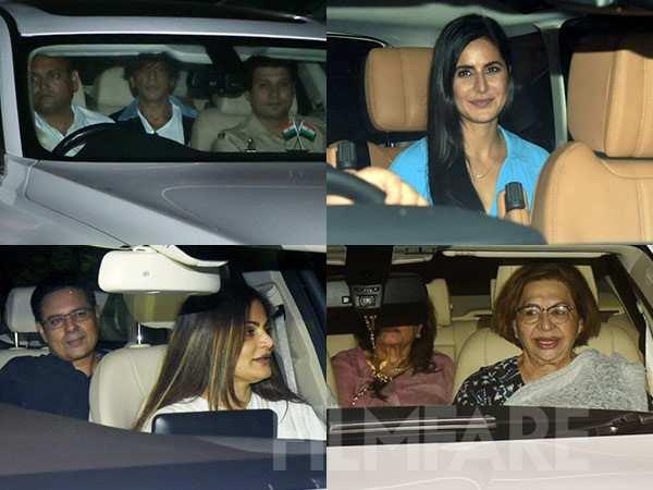Shah Rukh Khan, Katrina Kaif, Helen at the special screening of Bharat