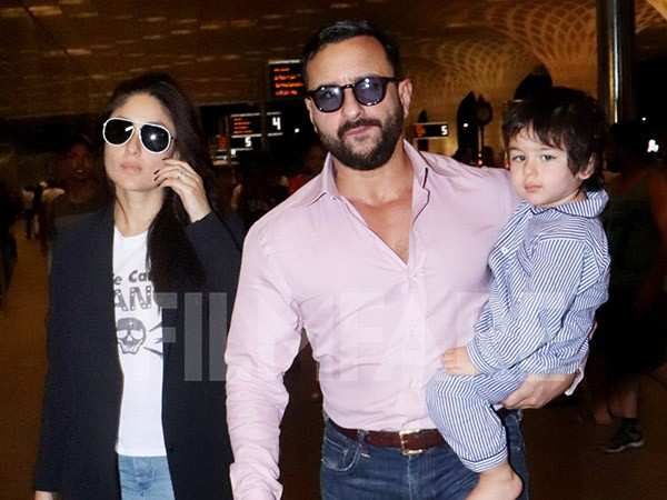 Pictures: Taimur, Kareena and Saif Ali Khan head to London