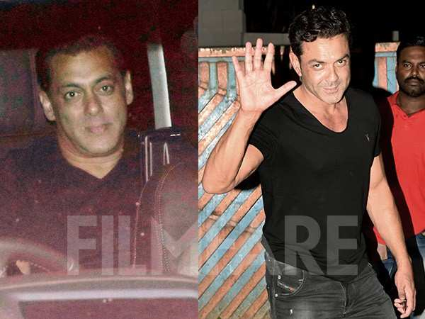 Salman Khan and Bobby Deol chill together at a friend's place