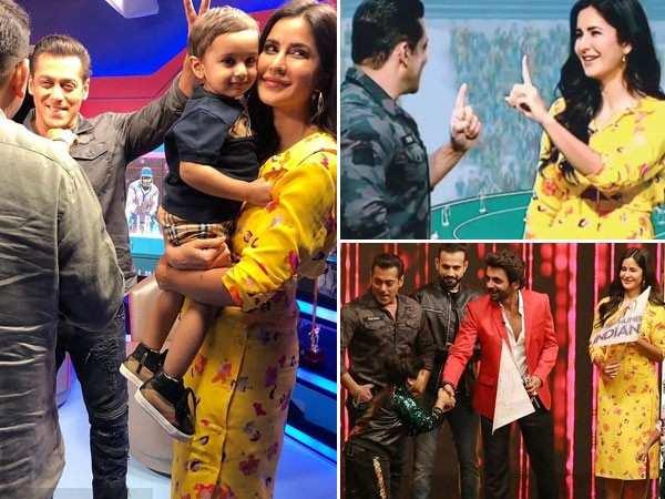 Pictures of Salman Khan and Katrina Kaif promoting Bharat during IPL final