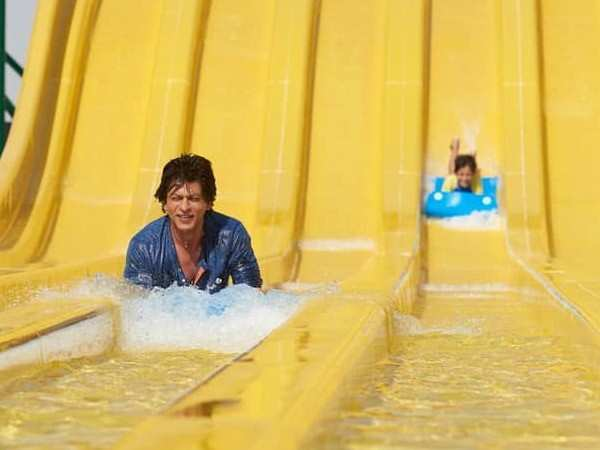 Picture alert! Shah Rukh Khan beats the heat on a water slide