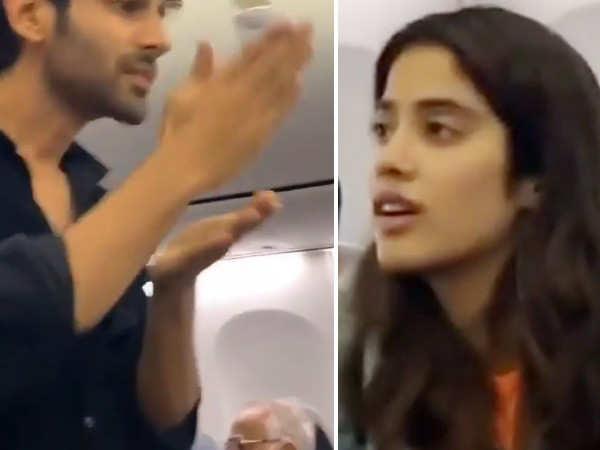 Videos: Kartik Aaryan and Janhvi Kapoor Indulge In Some In-Flight Fun