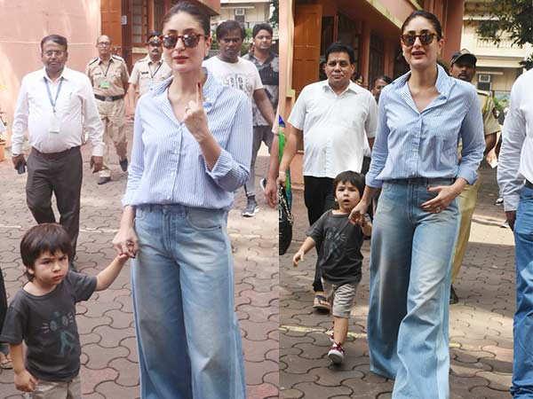 Kareena Kapoor Khan arrives with son Taimur Ali Khan to cast her vote
