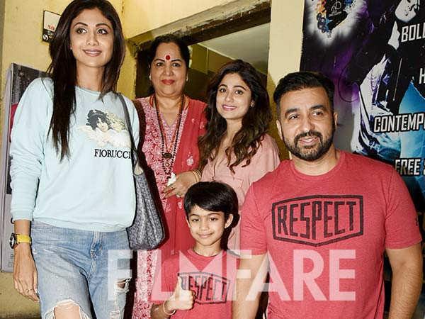 In Photos: Shilpa Shetty Kundra and Raj Kundra enjoy a movie night with their family