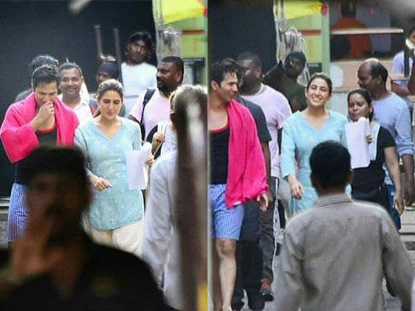 Sara Ali Khan and Varun Dhawan snapped on the set of Coolie No. 1