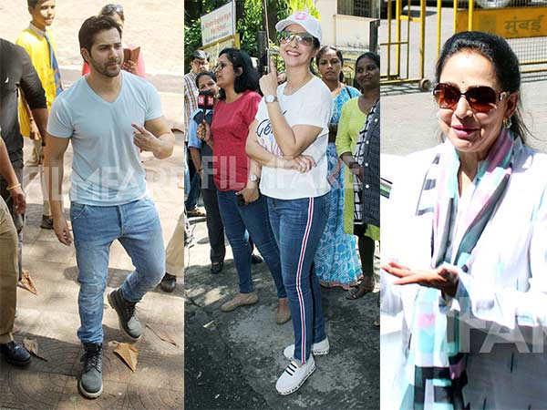 Varun Dhawan, Vidya Balan, Hema Malini and Urmila Matondkar cast their votes