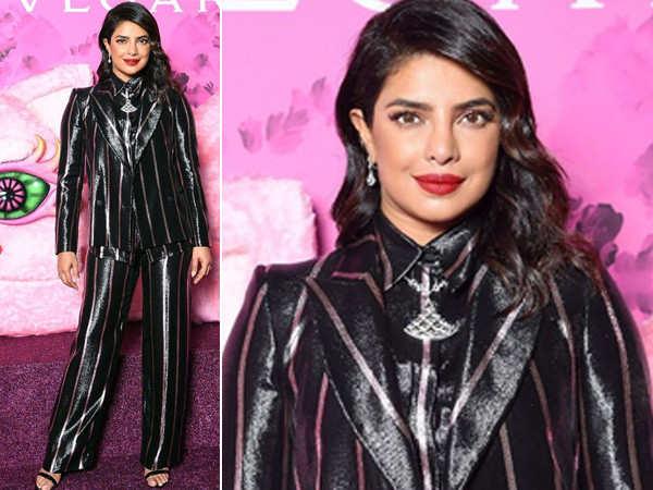 Priyanka Chopra slays in a striped pantsuit at Milan Fashion Week
