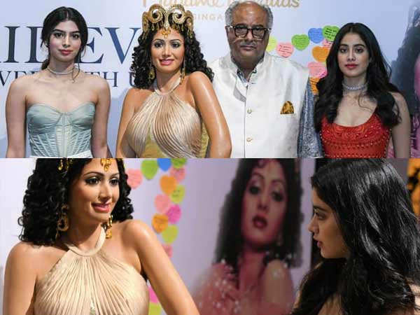 Janhvi, Khushi & Boney Kapoor unveil late Sridevi's wax statue in Singapore