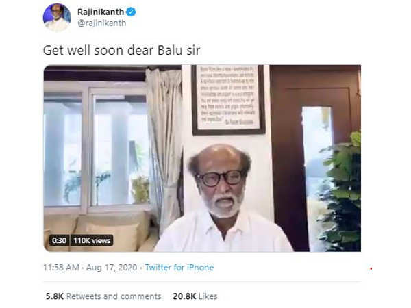 Rajinikanth says he is happy SP Balasubrahmanyam is out of danger