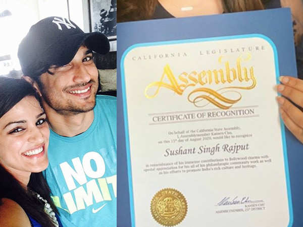 California State Assembly honours late Sushant Singh Rajput