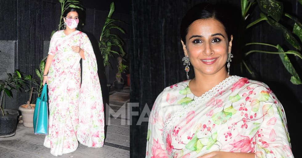 Vidya Balan steps out looking stunning in a floral saree