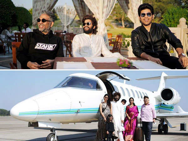 Allu Arjun jets off to Udaipur in a private plane with his family