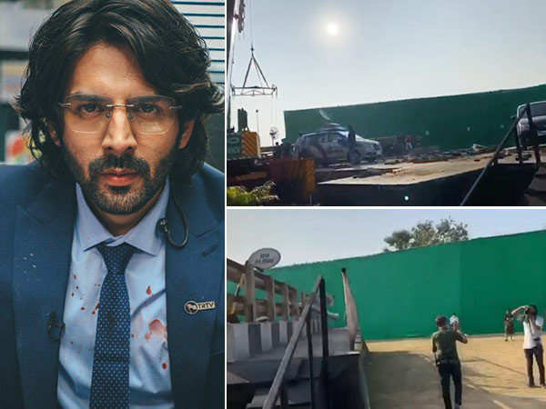 Kartik Aaryan introduces us to a camera-shy helicopter from the sets of Dhamaka