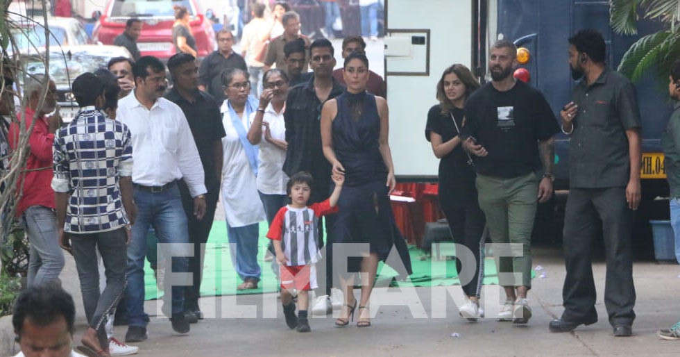 Kareena Kapoor Khan snapped with Taimur Ali Khan on the sets of her next project