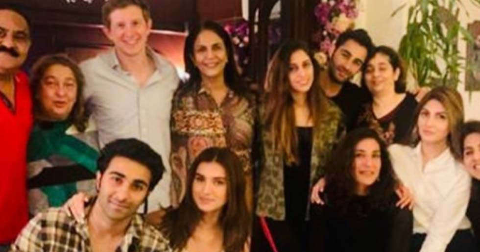 Tara Sutaria poses with Aadar Jain and the Kapoor family