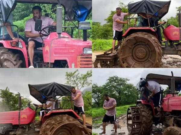 Salman Khan spends his weekend farming and driving a tractor