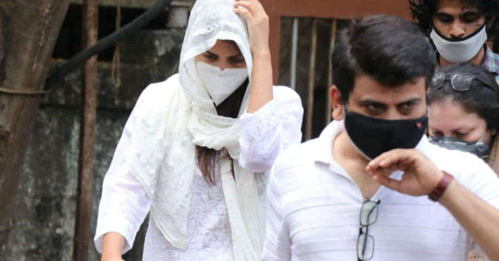 Rhea Chakraborty gives her statement at the Bandra Police Station