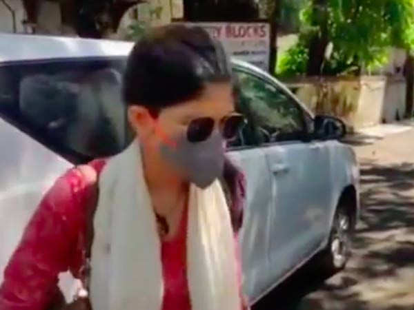 Sanjana Sanghi arrives to record her statement in Sushant Singh Rajput's case