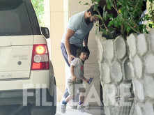 Taimur Ali Khan and Saif Ali Khan spotted out and about in the city