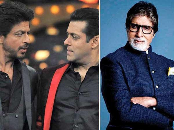 Amitabh Bachchan, Shah Rukh Khan and Salman Khan singing together on stage