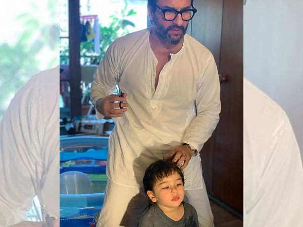 Saif Ali Khan turns hairstylist for Taimur Ali Khan