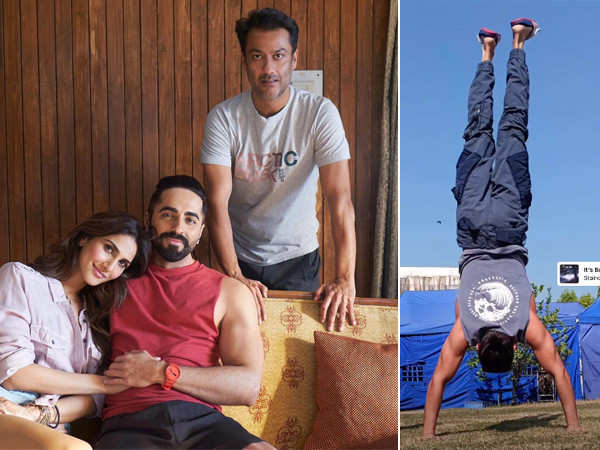 Ayushmann Khurrana perfects the handstand as he shoots for his next
