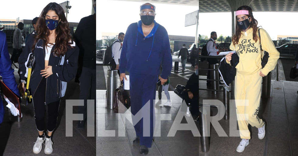 Janhvi Kapoor Khushi Kapoor and Boney Kapoor snapped jetting off from the city